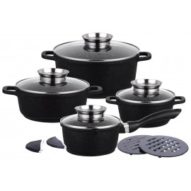 12 pcs casting non stick marble coating cookware set